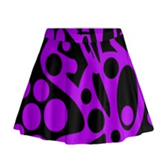 Purple And Black Abstract Decor Mini Flare Skirt