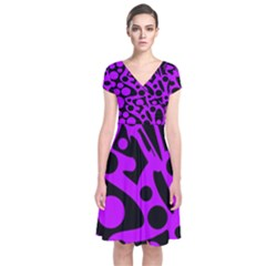 Purple And Black Abstract Decor Short Sleeve Front Wrap Dress