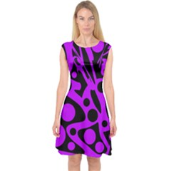 Purple And Black Abstract Decor Capsleeve Midi Dress