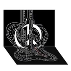 Decorative guitar Peace Sign 3D Greeting Card (7x5)