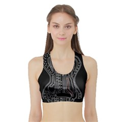Decorative guitar Sports Bra with Border