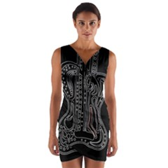 Decorative Guitar Wrap Front Bodycon Dress