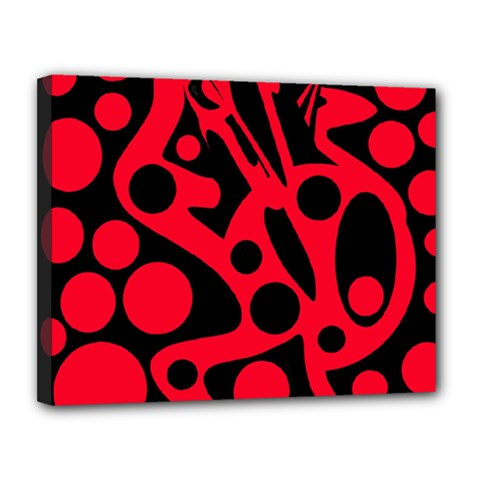 Red and black abstract decor Canvas 14  x 11