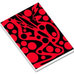 Red and black abstract decor Large Memo Pads