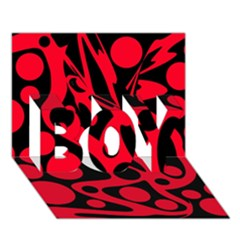 Red and black abstract decor BOY 3D Greeting Card (7x5)
