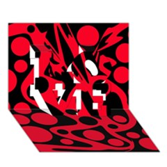 Red and black abstract decor LOVE 3D Greeting Card (7x5)