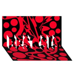 Red and black abstract decor BEST SIS 3D Greeting Card (8x4)
