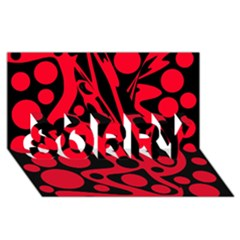 Red and black abstract decor SORRY 3D Greeting Card (8x4)