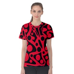 Red and black abstract decor Women s Cotton Tee