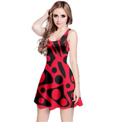 Red and black abstract decor Reversible Sleeveless Dress