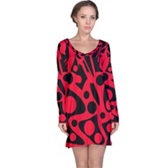 Red and black abstract decor Long Sleeve Nightdress