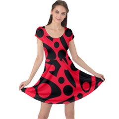 Red and black abstract decor Cap Sleeve Dresses
