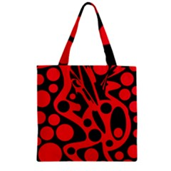 Red and black abstract decor Zipper Grocery Tote Bag