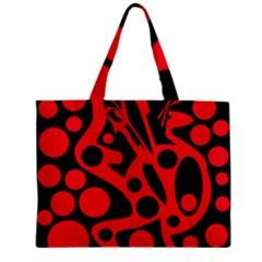 Red and black abstract decor Zipper Mini Tote Bag