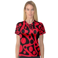 Red and black abstract decor Women s V-Neck Sport Mesh Tee