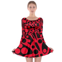 Red and black abstract decor Long Sleeve Skater Dress