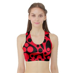 Red and black abstract decor Sports Bra with Border