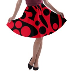 Red and black abstract decor A-line Skater Skirt
