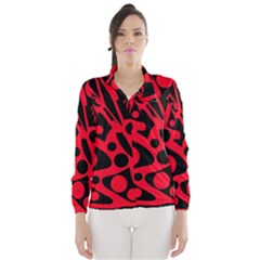 Red and black abstract decor Wind Breaker (Women)