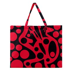 Red and black abstract decor Zipper Large Tote Bag