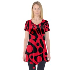 Red and black abstract decor Short Sleeve Tunic