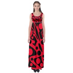Red and black abstract decor Empire Waist Maxi Dress