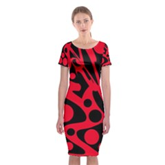 Red and black abstract decor Classic Short Sleeve Midi Dress