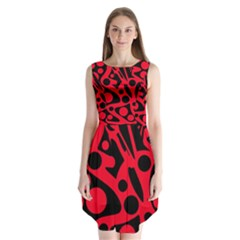 Red and black abstract decor Sleeveless Chiffon Dress