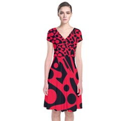 Red and black abstract decor Short Sleeve Front Wrap Dress