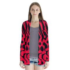 Red and black abstract decor Drape Collar Cardigan