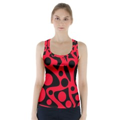 Red and black abstract decor Racer Back Sports Top