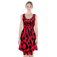 Red And Black Abstract Decor Racerback Midi Dress