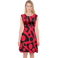 Red And Black Abstract Decor Capsleeve Midi Dress