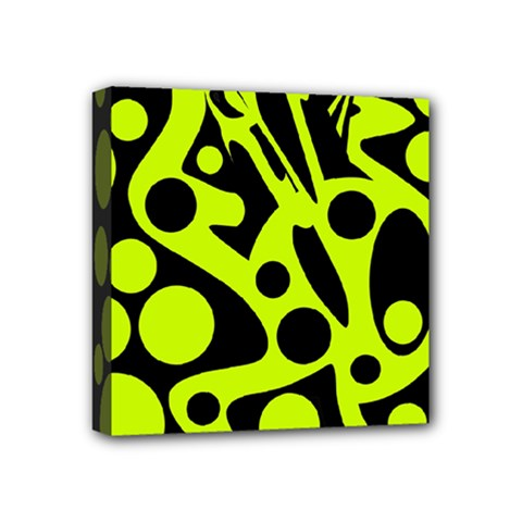 Green and black abstract art Mini Canvas 4  x 4