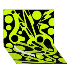 Green and black abstract art Heart Bottom 3D Greeting Card (7x5)