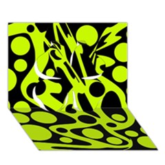 Green and black abstract art Clover 3D Greeting Card (7x5)