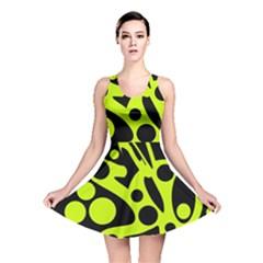 Green and black abstract art Reversible Skater Dress