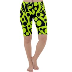Green and black abstract art Cropped Leggings
