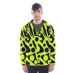 Green and black abstract art Hooded Wind Breaker (Men)