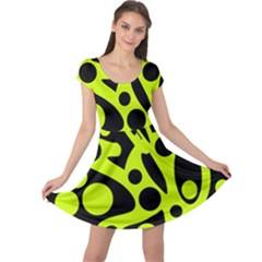 Green and black abstract art Cap Sleeve Dresses