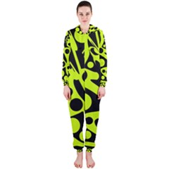 Green and black abstract art Hooded Jumpsuit (Ladies)