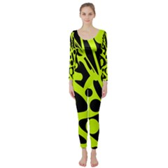 Green and black abstract art Long Sleeve Catsuit
