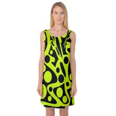 Green and black abstract art Sleeveless Satin Nightdress
