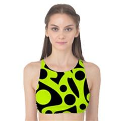 Green and black abstract art Tank Bikini Top