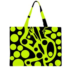 Green and black abstract art Large Tote Bag