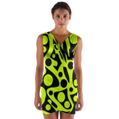 Green and black abstract art Wrap Front Bodycon Dress