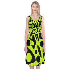 Green and black abstract art Midi Sleeveless Dress