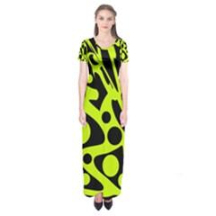 Green and black abstract art Short Sleeve Maxi Dress