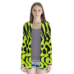 Green and black abstract art Drape Collar Cardigan