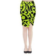 Green and black abstract art Midi Wrap Pencil Skirt